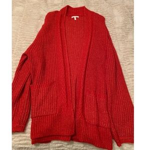 MAURICES Cherry Red Oversized Cardigan